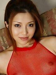 Sexy Aki Anzai in fishnet lingerie