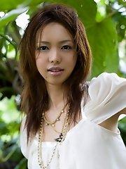 Yura Aikawa cute Asian teen in white dress