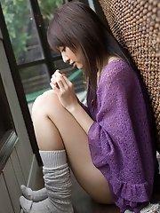 Asian sweetheart posing in lace dress is hot