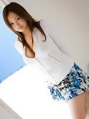 Asian lingerie model is lovely as she strips
