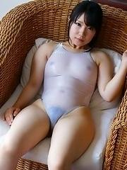 Cute and busty Japanese av idol Kokoa Airu shows her amazing naked body wearing swimsuit