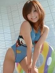 Sexy and luxurious Japanese av idol Mai Miyashita shows her nude body wearing swimsuit