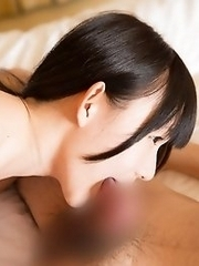 Sexy and sweet Japanese av idol Marie Konishi gives a blowjob in the hotel