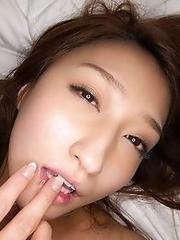 Sexy and nasty Japanese av idol Kotomi Saeki rides a cock for you to enjoy