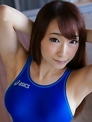 Hot and horny Japanese av idol Kurea Hasumi wears sexy swimsuit to show her busty tits