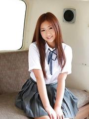 Ayaka Sayama with beautiful smile and hair is very playful