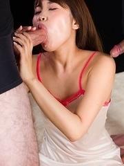 Ayaka Yamashita Fills Her Cum Filled Mouth with Cock