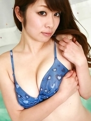Yuuka Hasebe plays with her nasty cans in blue bath bra