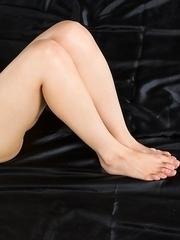Natsuki Yokoyama showing off her hot legs and feet after a very hot cumshot